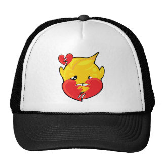 broken heart smiley face trucker hat