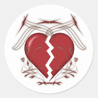 Broken Heart & Tribal Graphics: Classic Round Sticker
