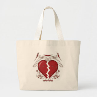 Broken Heart & Tribal Graphics: Large Tote Bag