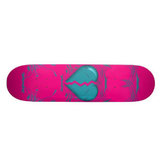 Broken Heart / Tribal Skateboard (purple & aqua)