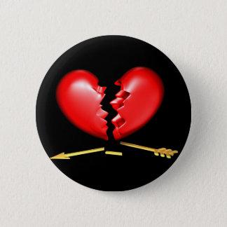 Broken heart with broken golden arrow pinback button