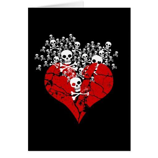 Broken Heart with Skulls Card