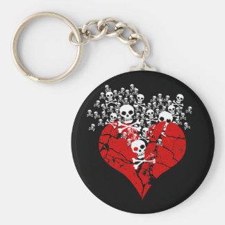 Broken Heart with Skulls Keychain
