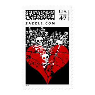 Broken Heart with Skulls Postage