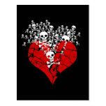Broken Heart with Skulls Postcard