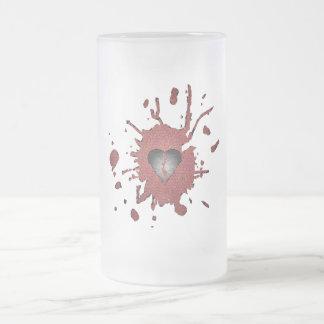 Broken Hearted 16 Oz Frosted Glass Beer Mug