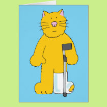 Broken leg, cat with leg in plaster. card
