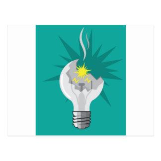 Broken lightbulb vector postcard