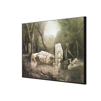 Broken Mayan idol at Copan, Guatemala Canvas Print