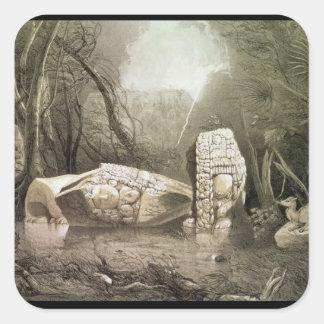 Broken Mayan idol at Copan, Guatemala Square Sticker