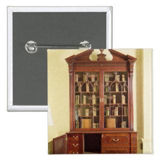 Broken pedimented bureau bookcase 2 inch square button