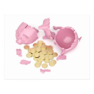 Broken piggy bank postcard