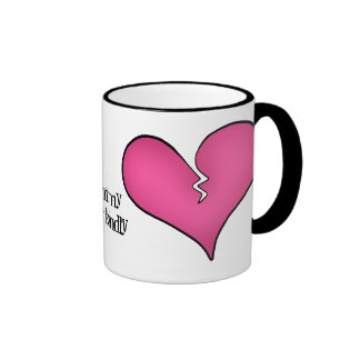 Broken pink heart anti Valentine's day Ringer Coffee Mug