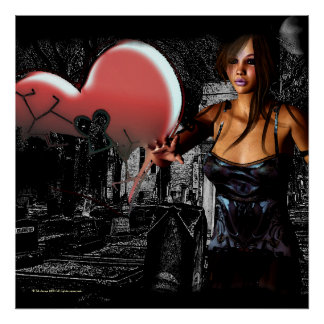 Broken Promises Gothic Ghost 3D Pin-up Poster