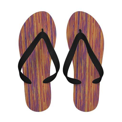 Broken Purple Pink and Yellow Lines Flip-Flops