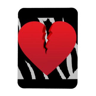 BROKEN RED HEART 50 ZEBRA STRIPED BACKGROUND JAGGE RECTANGLE MAGNET