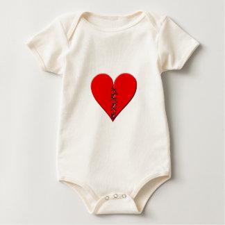 Broken, repaired heart baby bodysuit