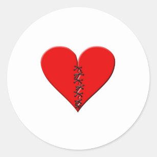 Broken, repaired heart classic round sticker