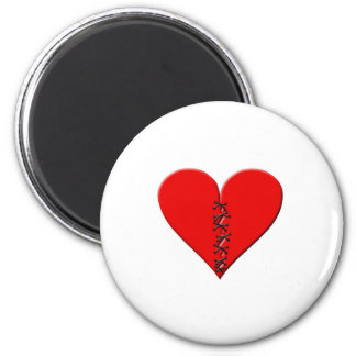 Broken, repaired heart 2 inch round magnet