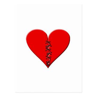 Broken, repaired heart postcard