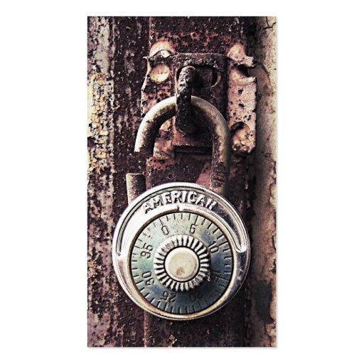 Broken Rusty American Padlock Security Business Business Cards