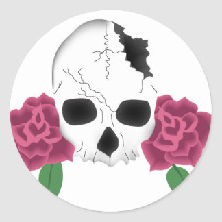 Broken Skull and Pink Roses Tattoo Card Classic Round Sticker