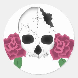Broken Skull and Pink Roses Tattoo Card Sticker