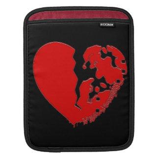 Broken smashed heart iPad sleeves