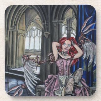 broken steampunk fairy art beverage coaster