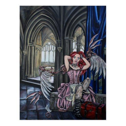 broken steampunk fairy art postcard