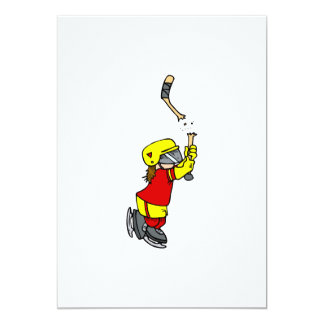 Broken stick hockey player 5x7 paper invitation card
