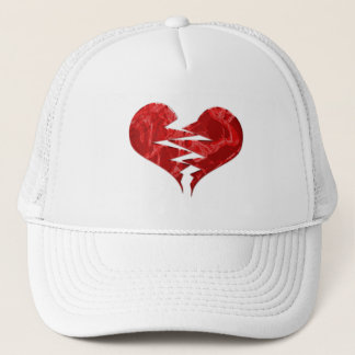 BROKEN TORN RED HEART LOVE EMO ENDS UNHAPPY FEELIN TRUCKER HAT
