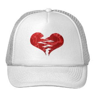 BROKEN TORN RED HEART LOVE EMO ENDS UNHAPPY FEELIN TRUCKER HAT