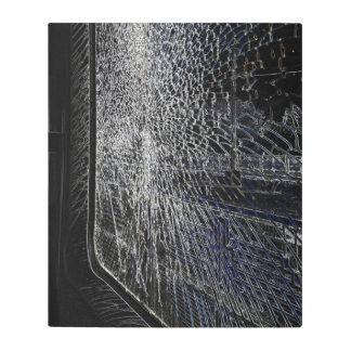 broken train window metal print