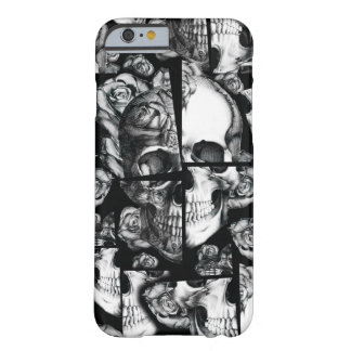 Broken up, fractured images of rose skull in black barely there iPhone 6 case