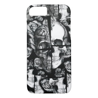 Broken up, fractured images of rose skull in black iPhone 7 case