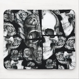 Broken up, fractured images of rose skull in black mouse pad