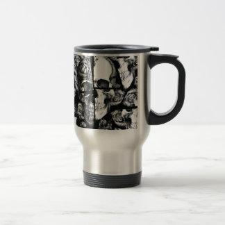 Broken up, fractured images of rose skull in black coffee mugs