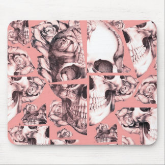 Broken up, fractured images of rose skull in coral mouse pad