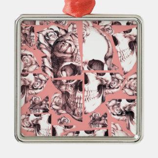 Broken up, fractured images of rose skull in coral ornaments