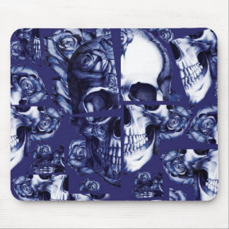 Broken up, fractured images of rose skull in navy. mouse pad