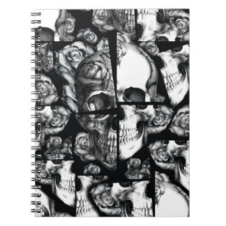 Broken up, fractured images of rose skull. spiral notebook