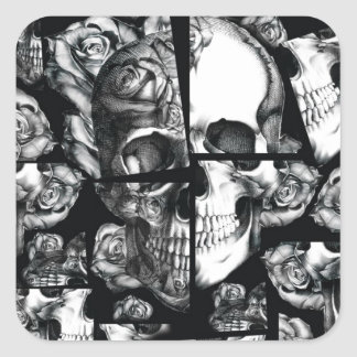 Broken up, fractured images of rose skull. square sticker