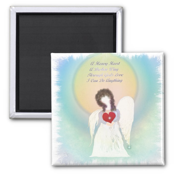Broken Wing Angel 2 Inch Square Magnet