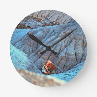 """Broken Wood in Blue Canyon"" collection Round Clock"