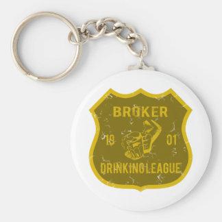 Broker Drinking League Basic Round Button Keychain