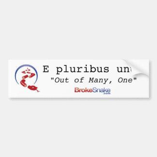 BrokeSnake title, Snake Icon, E pluribus unum, ... Bumper Sticker