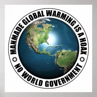 Broma artificial del calentamiento del planeta póster