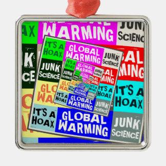Broma del calentamiento del planeta adorno cuadrado plateado