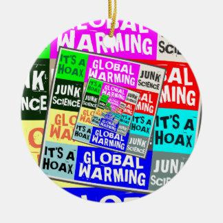 Broma del calentamiento del planeta adorno redondo de cerámica
